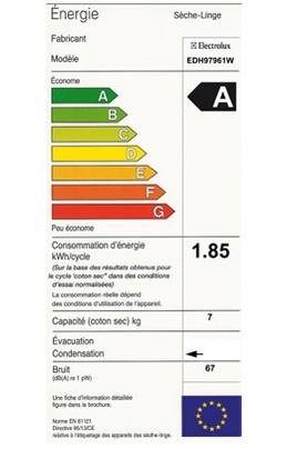 Electrolux - EDH97961 - Label Energie