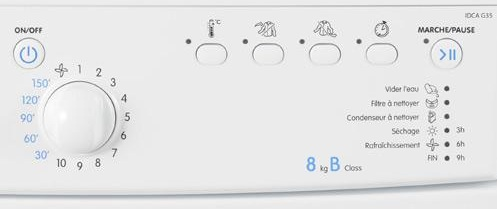 Indesit - IDCA G35B - Interface de commande