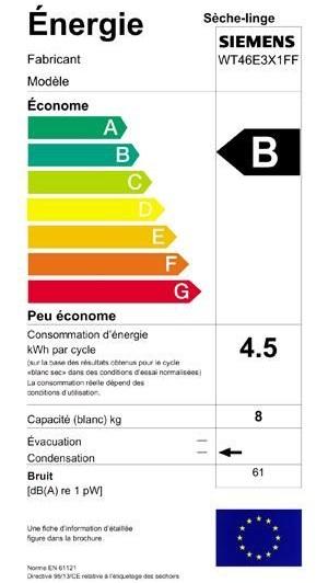 Siemens - WT46E3X1FF - Label énergie