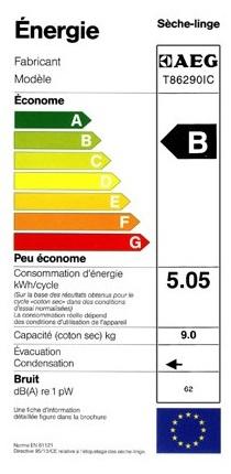 Sèche Linge AEG - T86280IC - Label Energie