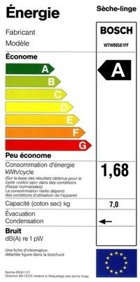 Sèche Linge Bosch - WTW86581FF - Label Energie