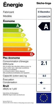 Sèche Linge Electrolux - EDH3386GZW - Label Energie