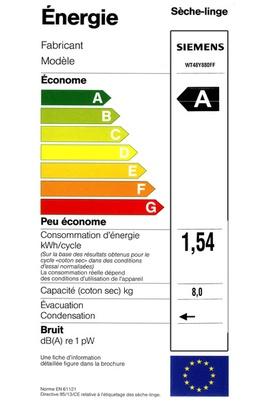 Sèche Linge Siemens - WT48Y880FF - Label énergie
