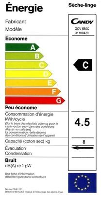 Sèche Linge Candy - GOV 580C - Label Energie
