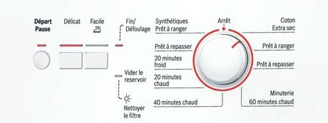 Sèche Linge Bosch - WTC84102FF - Interface de commande