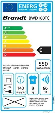 Sèche Linge Brandt - BWD180TC - Label Energie