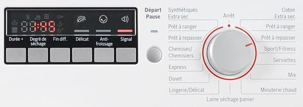 Sèche Linge Bosch - WTW86430FF - Interface de commande