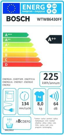 Sèche Linge Bosch - WTW86430FF - Label Energie
