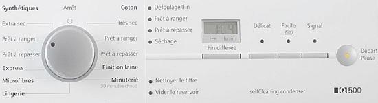 Sèche Linge Siemens - WT46W361FF - Interface de commande