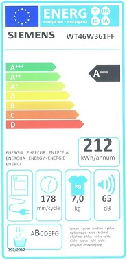 Sèche Linge Siemens - WT46W361FF - Label Energie