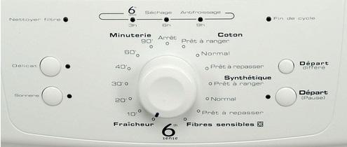 Sèche Linge Whirlpool - AWZ3428 - Interface de commande