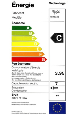 Sèche Linge Whirlpool - AWZ3428 - Label Energie