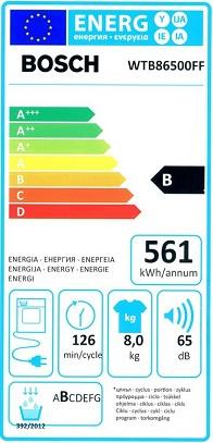 Seche Linge Bosch - WTB86500FF - Label Energie