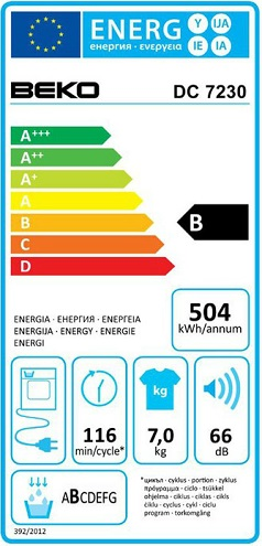 Sèche Linge Beko - DC7230 - Label Energie