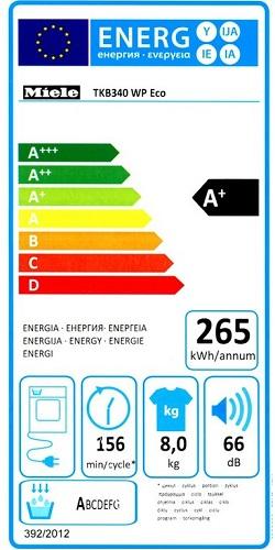 Sèche Linge Miele - TKB340 WP Eco - Label Energie