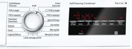 Sèche Linge Bosch - WTW87460FF - Commandes