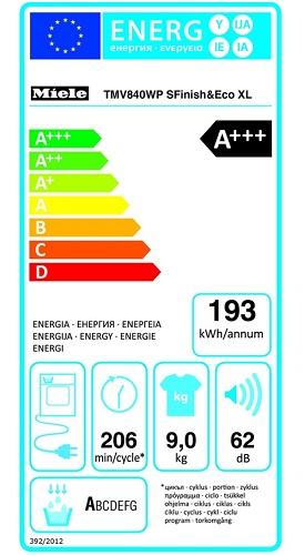 Sèche Linge Miele - MV840WP - Label Energie