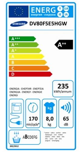 Sèche Linge Samsung - DV80F5E5HGW - Label Energie