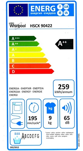 Sèche Linge Whirlpool - HSCX90422 - Label Energie