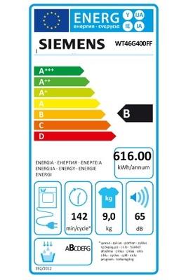 Sèche Linge Siemens - WT46G400FF - Label Energie