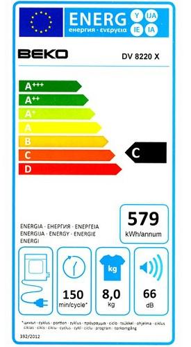 Seche Linge Beko - DV8220X - Label Energie