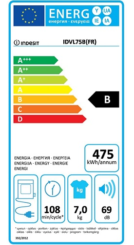 Sèche Linge Indesit - IDVL 75 B FR - Label Energie