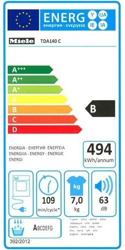 Sèche Linge Miele - TDA 140 C - Label Energie