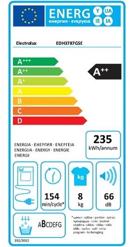 Sèche Linge Electrolux - EDH3787GSE - Label Energie