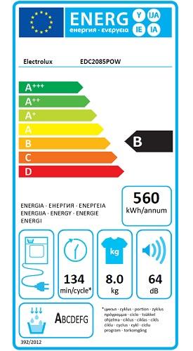 Sèche Linge Electrolux - EDC2085POW - Label Energie