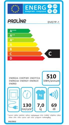 Sèche Linge Proline - DVE7P-1 - Label Energie