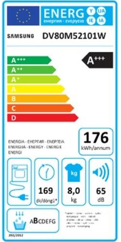 Sèche Linge Samsung - DV80M52101W - Label Energie