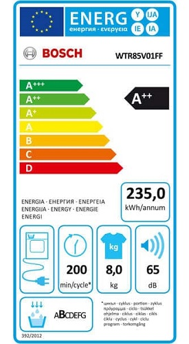 Seche Linge Bosch - WTR85V01FF - Label Energie