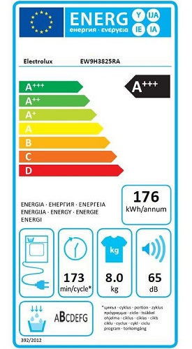 Sèche Linge Electrolux - Perfect Care 900 EW9H3825RA - Label Energie