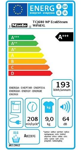 Sèche Linge Miele - TCJ680 WP - Label Energie