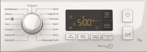 Seche Linge Whirlpool - Freshcare FTM1172FR - Commandes