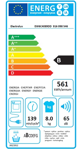 Sèche Linge Electrolux - PerfectCare 600 EW6C4089DD - Label Energie