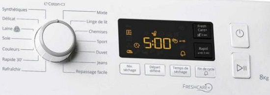 Sèche Linge Whirlpool - Freshcare FTCHACM118XBBFR - Commandes