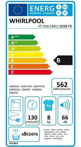 Sèche Linge Whirlpool - Freshcare FTCHACM118XBBFR - Etiquette Energétique